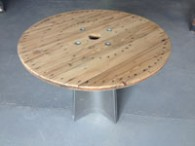 Table ronde bois pied inox